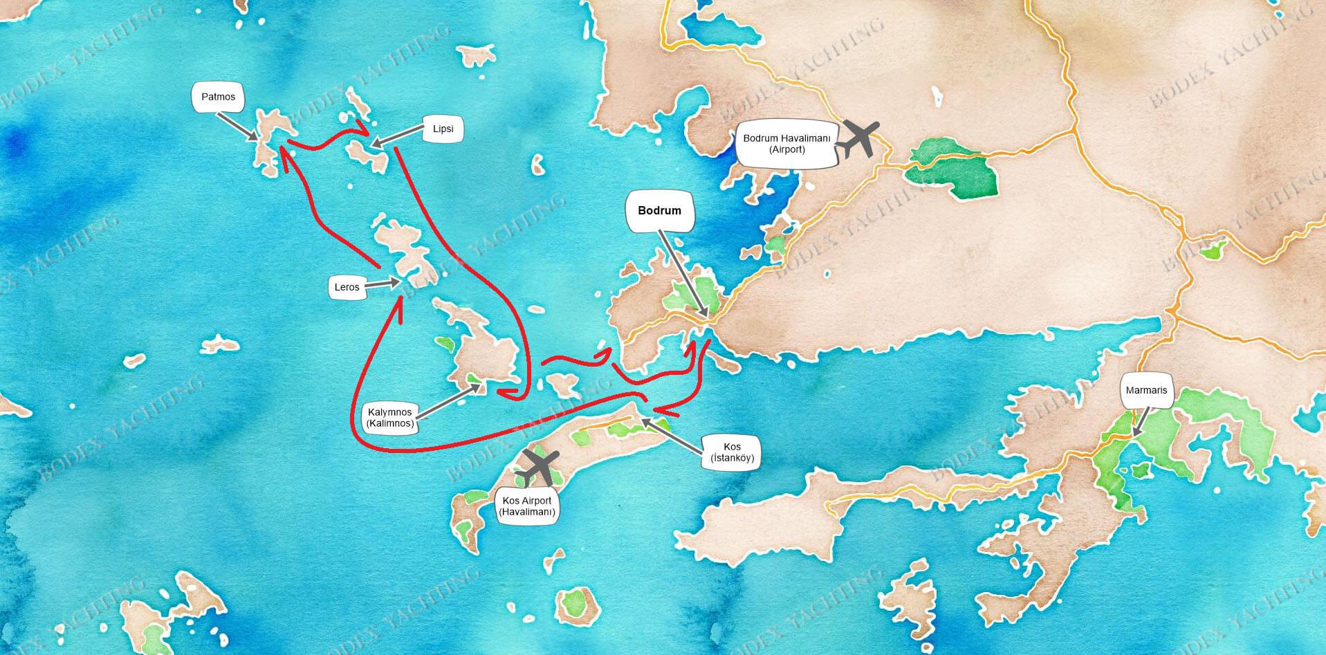 Route Bodrum - Patmos - Bodrum