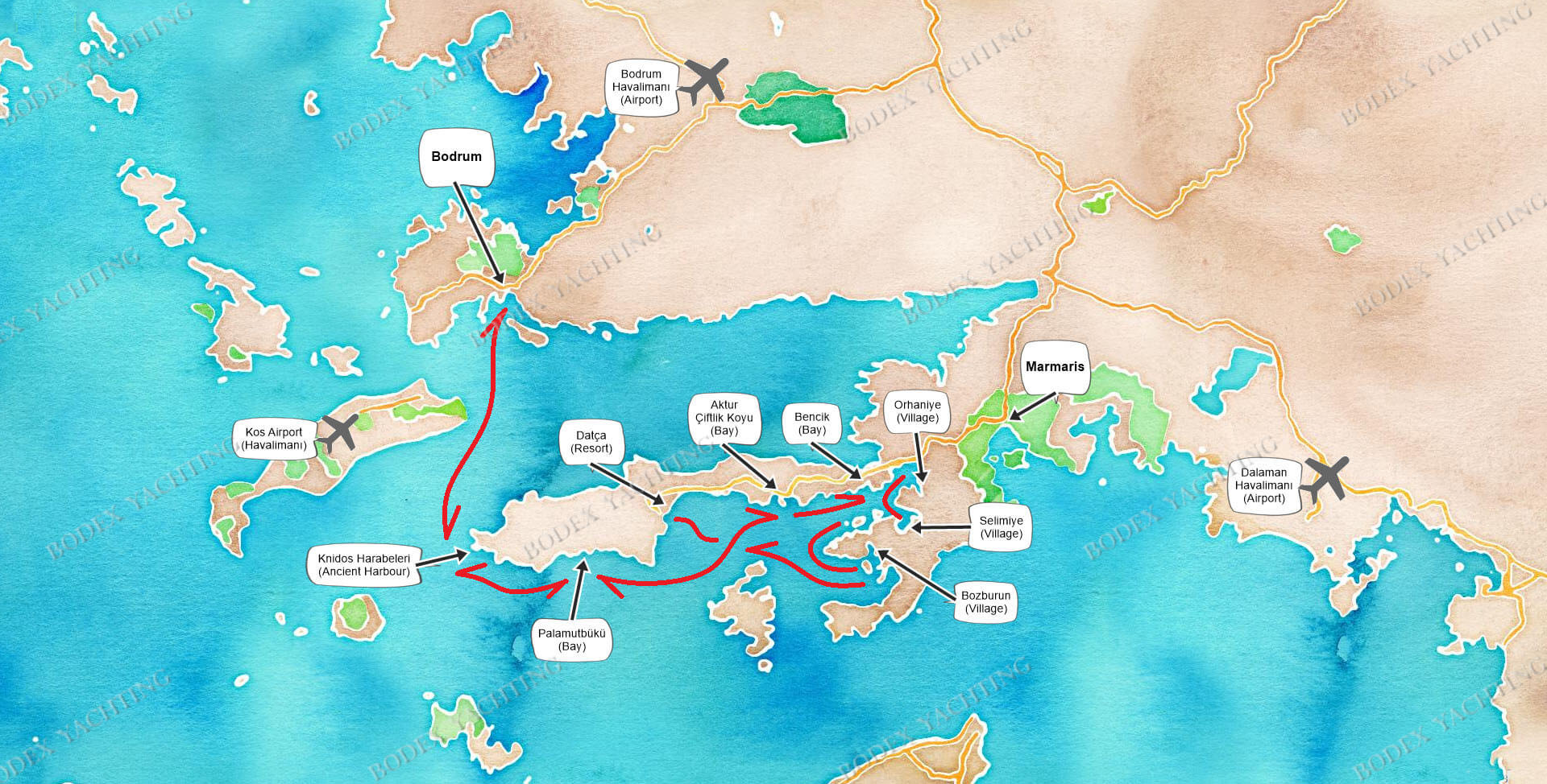 Route Bodrum - Hisarönü - Bodrum